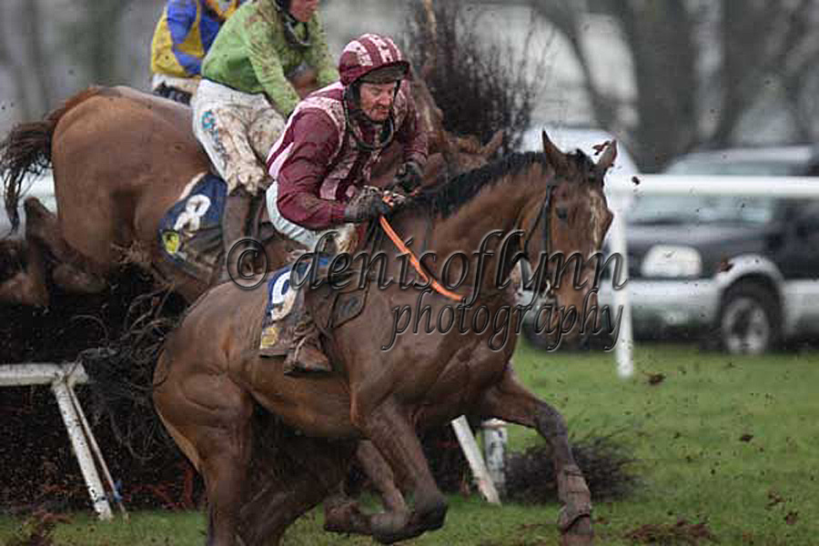 Bubble or Breeze makes a mistake at the 7th fence in AMAC Maiden Race for 6yo Geldings